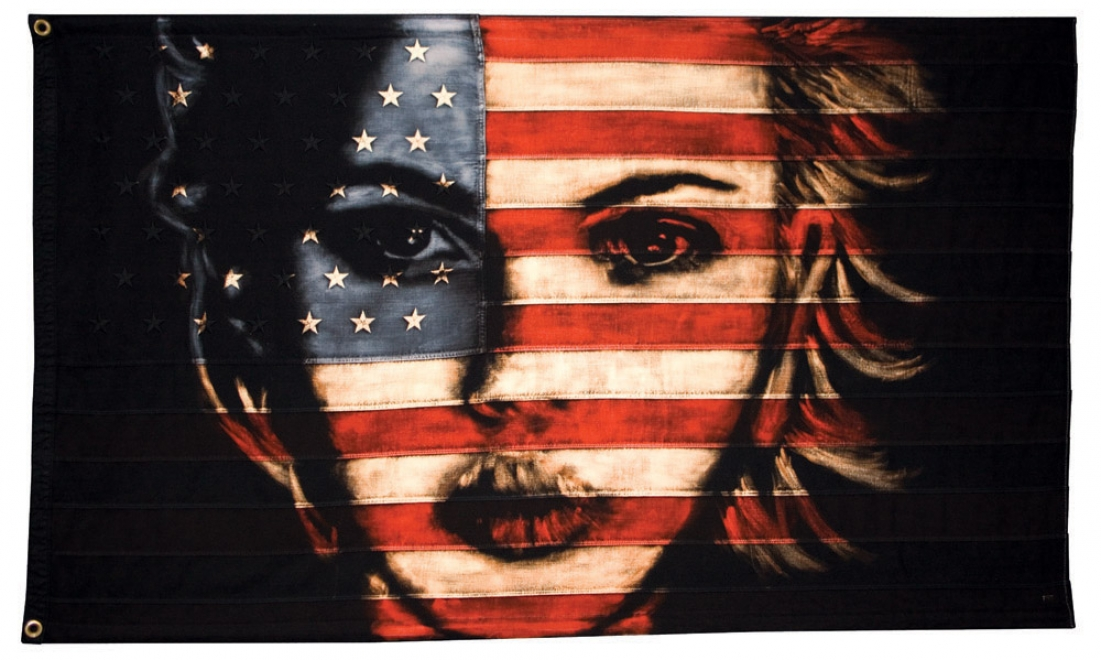 Scarlett : 2011. Flag size 1475 x 886 mm Bleaching technique and dye on vintage embroidered 48 star American flag