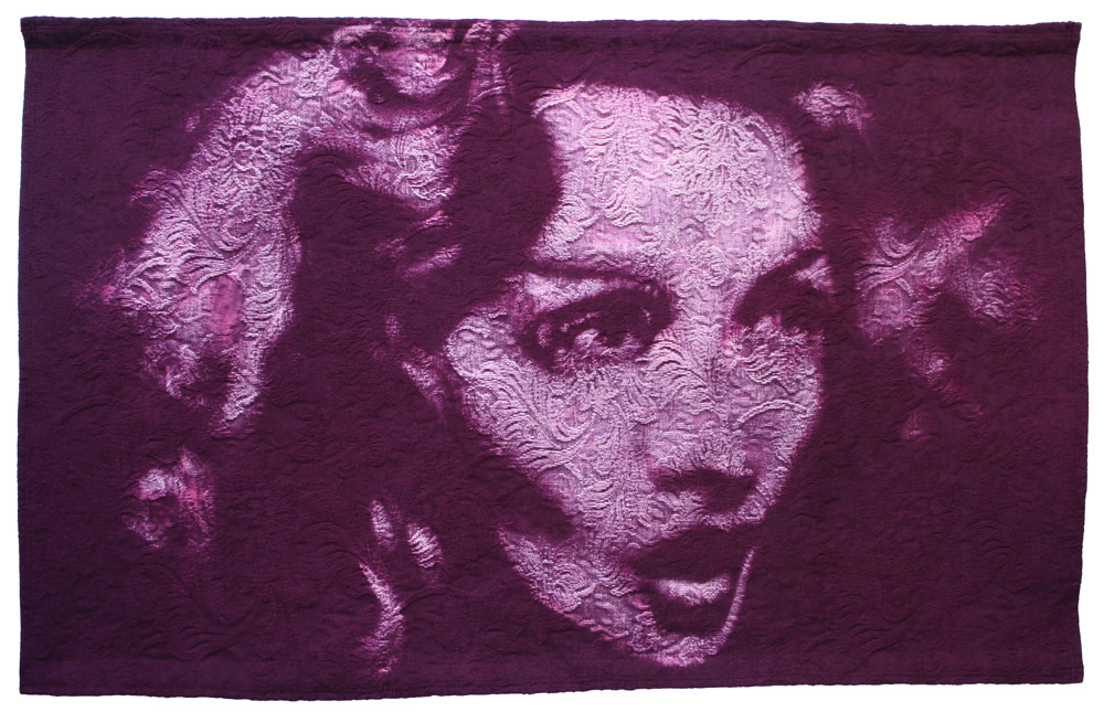 Shanghai Lily : 2011 Portrait of Marlene Dietrich. Dye & bleaching technique on heavy-weight vintage woven brocade fabric. Fabric size 1113 x 686 mm, Box frame approx 1253 x 826 mm.