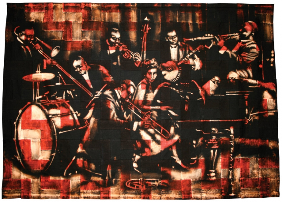 The Band  : 2011. Portrait of jazz musicians King Oliver's Creole Jazz Band. Ink, dye & bleaching technique on handmade zig zag quilt. Fabric size 1532 x 1098 mm, box frame approx 1672 x 1238 mm. £8000