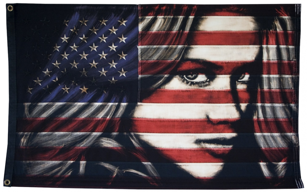 The Lover : 2013, 46.3 inch x 28.5 inch unframed Bleaching technique and dye on vintage Stars and Stripes. Available from The Unit Gallery, Covent Garden, London