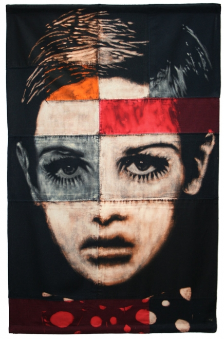Twiggy : Bleaching technique & dye on linen, cotton & vintage flags handmade piece. Flag 1249 x 813 mm. Framed approx 1389 x 913 mm