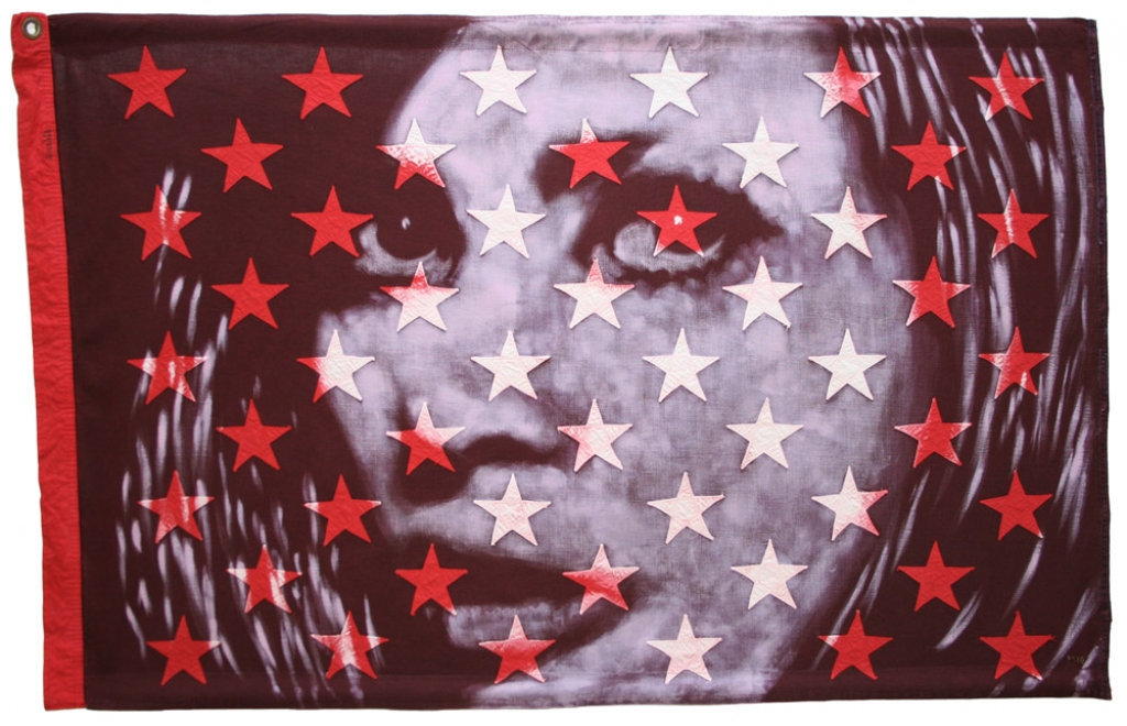 Ultra Violet : Portrait of Faye Dunaway as Bonnie in Bonnie & Clyde. Bleaching technique & dye on the star section of a vintage 1960s American flag with 50 appliqued stars.Flag size 721 x 1141 mm. Framed in black box frame approx 84.1 x 122.6 cm