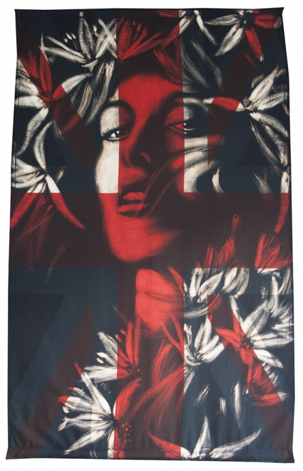 Venus : Bleaching technique &amp; dye on vintage union jack, <br>Flag 885 x 1450 mm, Frame 1050 x 1620 mm.