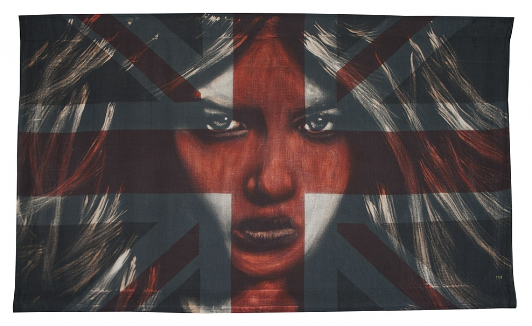 Vision : Bleaching technique & dye on vintage union jack, flag 938 mm x 555 mm, Framed size approx 1080 x 690 mm