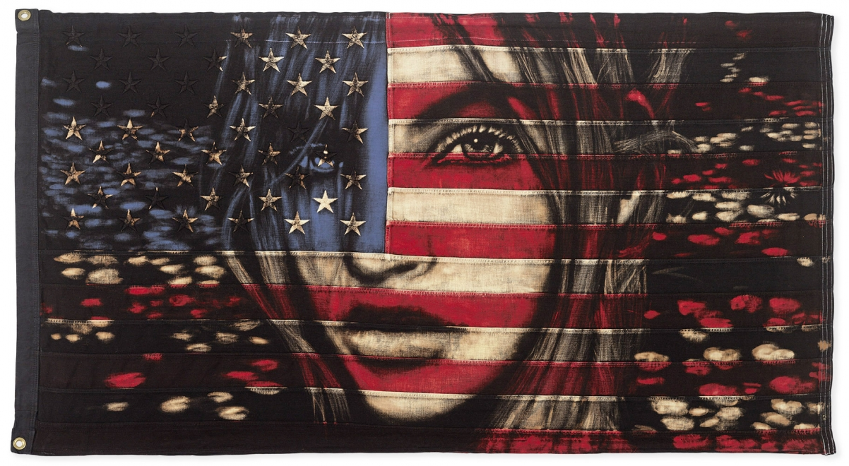 Water Lilies : Dye and bleach on vintage Stars and stripes. Flag size 1490 x 800 mm, Framed size approx 1630 x 940 mm