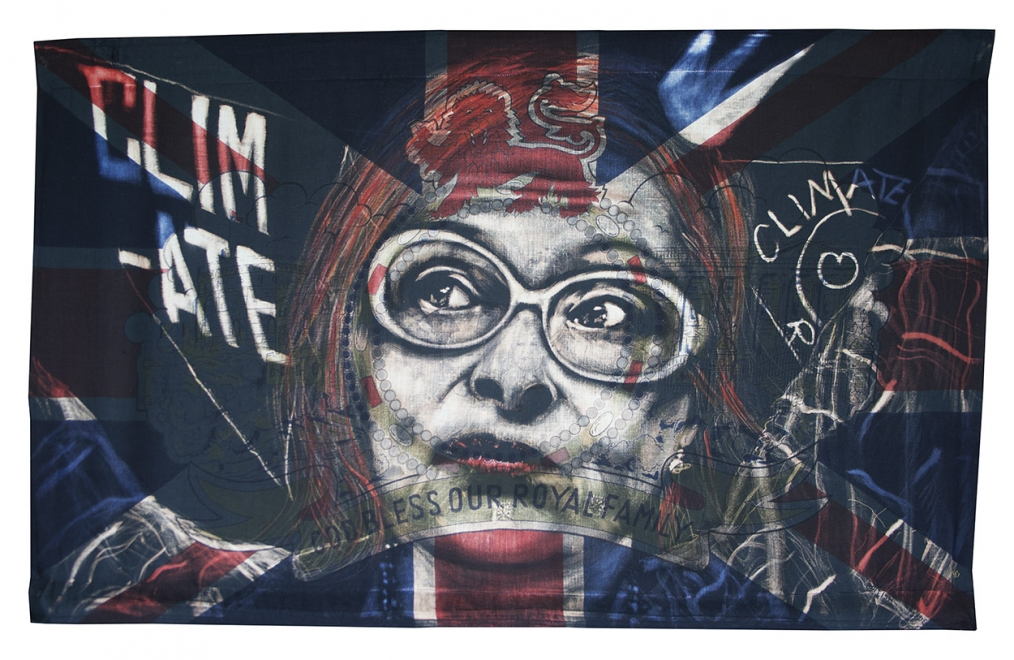Westwood : Dye and bleach on antique 'god bless our royal family' flag. Flag size 880 x 525 mm, Frame size 1045 x 660 mm. Available from Crush Gallery Brighton, UK