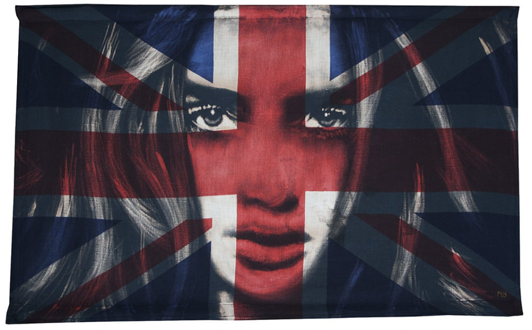 Wilderness : 2013, Bleaching technique and dye on vintage union jack, Fabric size 875 x 540 mm, Framed size 1010 x 680 mm