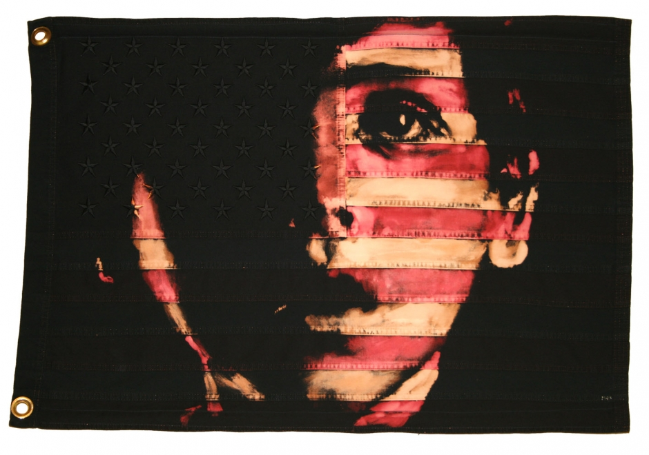 Wonder.  : 2009. Portrait Roger Príncep, 90 x 61 cm. Bleach & Dye on Vintage American flag.  <br />