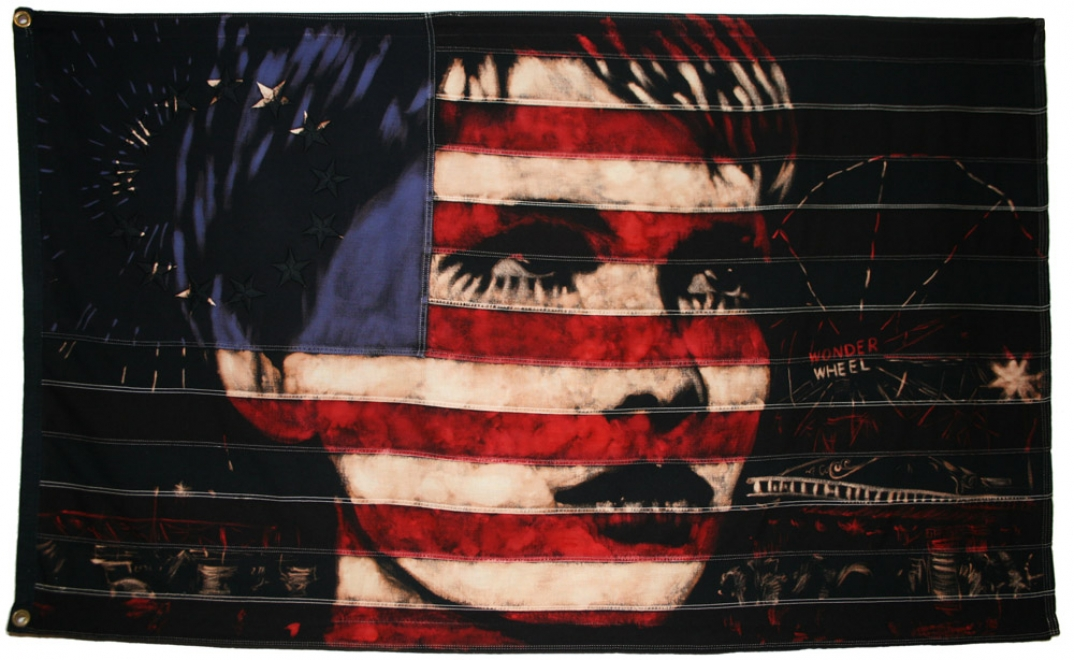 Wonderwheel : Portrait of Mia Farrow from A Dandy in Aspic with Coney Island lights. Bleaching technique & dye on vintage 1960s Betsy Ross flag with 13 stars flag. Signed by the artist. Flag size 1447 x 884 mm.Framed in black box frame.Framed size approx 154.7 x 102.4 cm